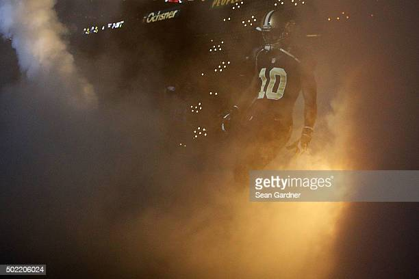 Brandin Cooks of the New Orleans Saints takes the field prior to a game against the Detroit Lions at the MercedesBenz Superdome on December 21 2015...