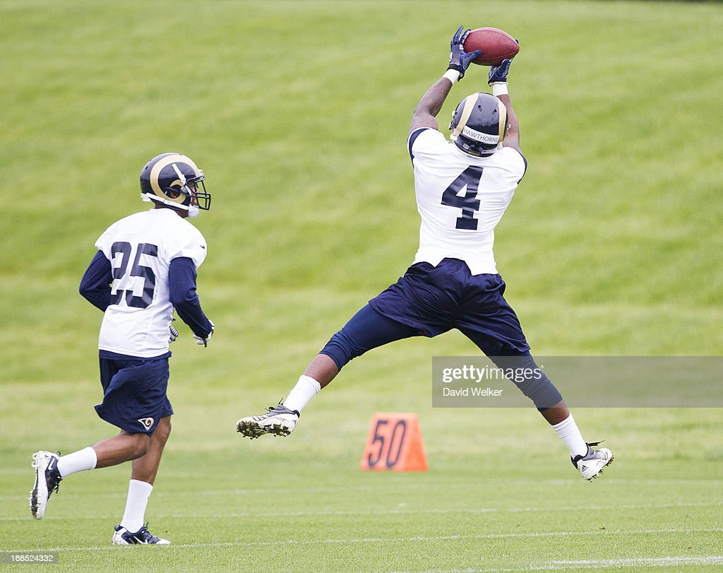 Brandin Hawthorne (4) of the St. Louis Rams catches a ball during a drill during the 2013 St. Louis Rams rookie camp at Rams Park on May 10, 2013 in Earth City, Missouri.