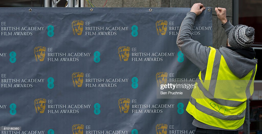 Branding boards are assembled ahead of the 69th EE British Academy Film Awards at The Royal Opera House on February 14, 2016 in London, England.