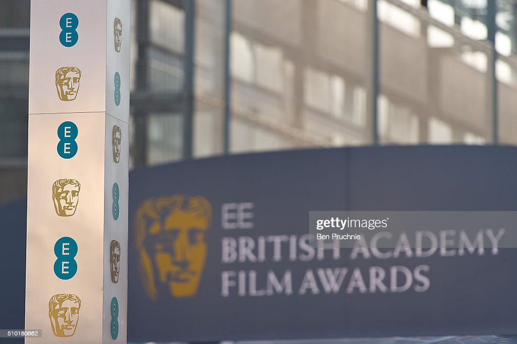 Branding boards are installed ahead of the 69th EE British Academy Film Awards at The Royal Opera House on February 14, 2016 in London, England.