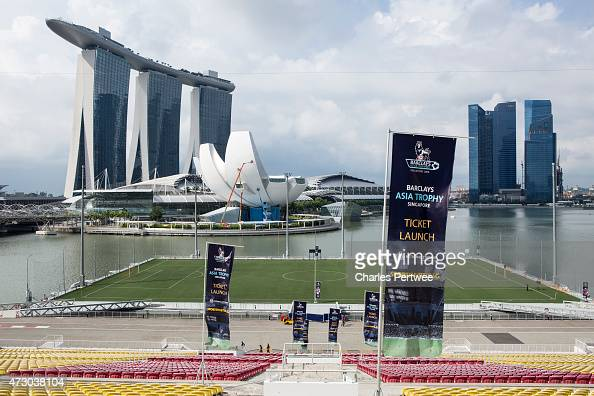 Branding images on display with the Marina Bay Sands in the background during the Ticket Launch for the Barclays Asia Trophy 2015 on May 12 2015 in...