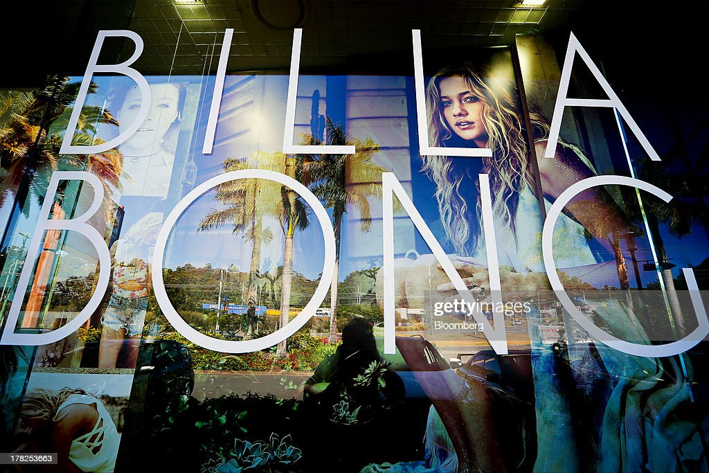 Branding is displayed in the window of a Billabong International Ltd. retail store at the company's headquarters in Burleigh Heads, Australia, on Wednesday, Aug. 28, 2013. Billabong, the surf brand founded in 1973, helped sell Australian surfing culture worldwide and rose to a market value of A$3.84 billion ($3.45 billion) at its peak in 2007 said its 40-year-old surf brand was worthless after the companys losses tripled amid store closures, firings and a breach of debt terms. Photographer: Patrick Hamilton/Bloomberg via Getty Images