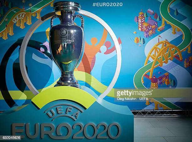 EURO 2020 branding on display during the UEFA EURO 2020 Host City Logo Launch in the Manege of the First Cadet Corps on January 19 2017 in Saint...