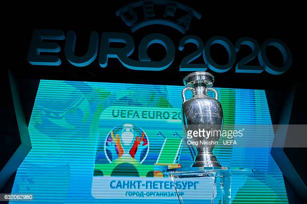 EURO 2020 branding with the St Petersburg host city logo on display and UEFA Euro 2020 trophy during the UEFA EURO 2020 Host City Logo Launch in the...