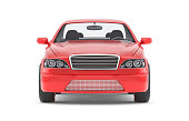 Brandless Generic Red Car. Front View. Isolated On White Background. 3D Illustration