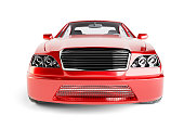 Brandless Generic Red Car. Side View. Isolated On White Background. 3D Illustration