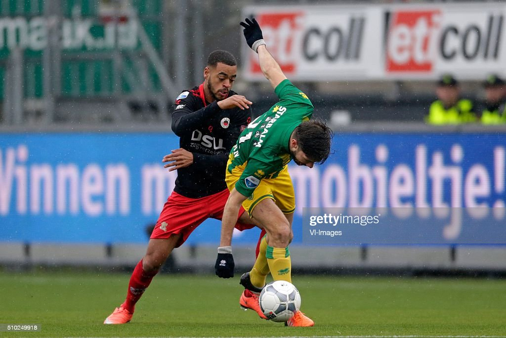 Brandley Kuwas of Excelsior Rotterdam, Edouard Duplan of ADO Den Haag during the Dutch Eredivisie match between Excelsior Rotterdam and ADO Den Haag at Woudenstein stadium on February 14, 2016 in Rotterdam, The Netherlands