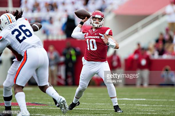 Brandon Allen of the Arkansas Razorbacks throws a pass against the Arkansas Razorbacks at Razorback Stadium Stadium on October 24 2015 in...