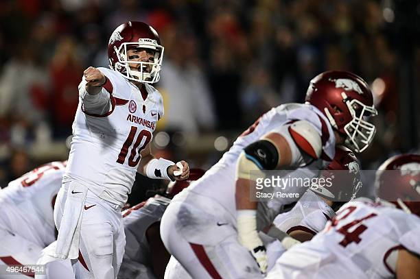 Brandon Allen of the Arkansas Razorbacks yells to his teammates during a game against the Mississippi Rebels at VaughtHemingway Stadium on November 7...