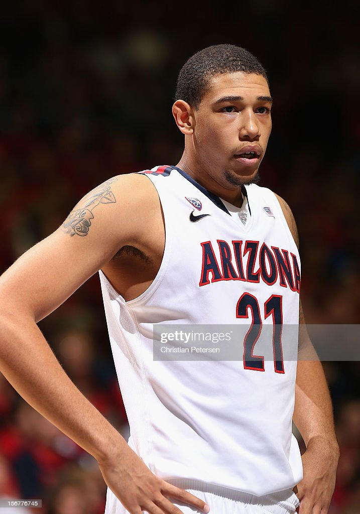 Brandon Ashley #21 of the Arizona Wildcats during the college basketball game against the Long Beach State 49ers at McKale Center on November 19, 2012 in Tucson, Arizona. The Wildcats defeated the 49ers 94-72.