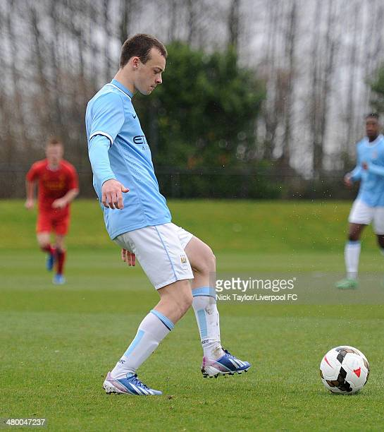 Brandon Barker of Manchester City in action during the Barclays Premier League Under 18 fixture between Liverpool and Manchester City at the...