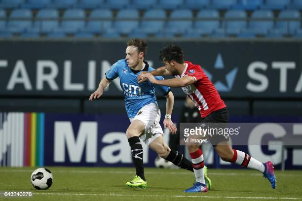 Brandon Barker of NAC Breda Bram van Vlerken of Jong PSVduring the Jupiler League match between Jong PSV and NAC Breda at Jan Louwers stadium on...