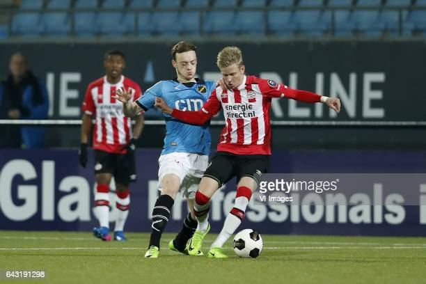 Brandon Barker of NAC Breda Oleksandr Zinchenko of Jong PSVduring the Jupiler League match between Jong PSV and NAC Breda at Jan Louwers stadium on...