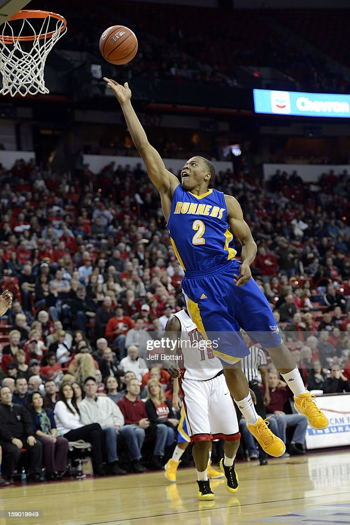 Brandon Barnes #2 of the CSU Bakersfield Roadrunners goes strong to the hoop against the UNLV Rebels at the Thomas & Mack Center on January 5, 2013 in Las Vegas, Nevada.