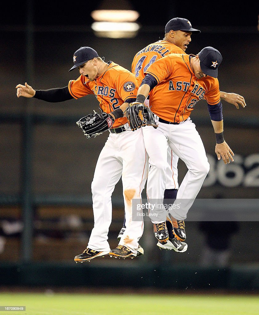 Brandon Barnes #2 of the Houston Astros along with Justin Maxwell #44 and <a gi-track='captionPersonalityLinkClicked' href=/galleries/search?phrase=Rick+Ankiel&family=editorial&specificpeople=803371 ng-click='$event.stopPropagation()'>Rick Ankiel</a> #28 celebrate after their 3-2 win over the Cleveland Indians at Minute Maid Park on April 19, 2013 in Houston, Texas.