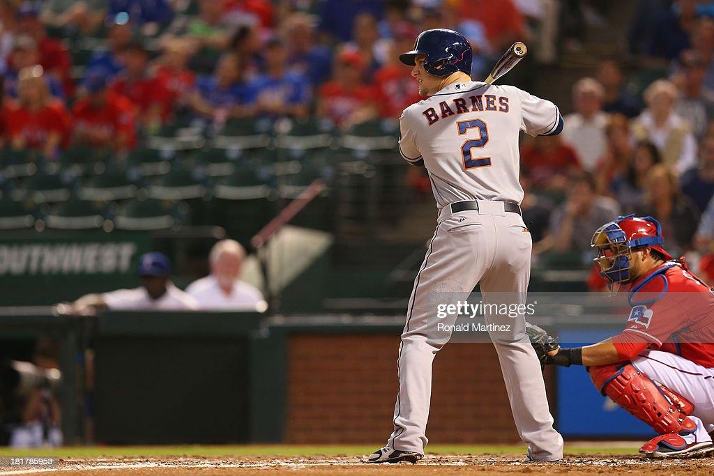 Brandon Barnes #2 of the Houston Astros at Rangers Ballpark in Arlington on September 24, 2013 in Arlington, Texas.