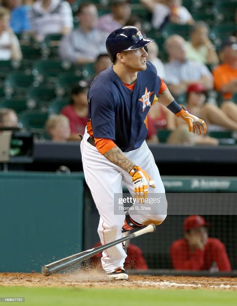 Brandon Barnes #2 of the Houston Astros gets a single against the Los Angeles Angels of Anaheim in the eighth inning on September 15, 2013 at Minute Maid Park in Houston, Texas.