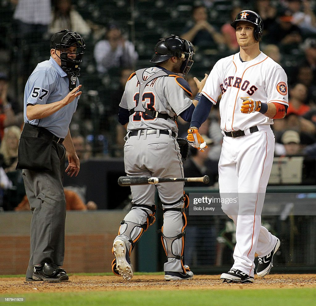 Brandon Barnes #2 of the Houston Astros walks back to the dugout after striking out in the tenth inning against the Detroit Tigers at Minute Maid Park on May 2, 2013 in Houston, Texas.