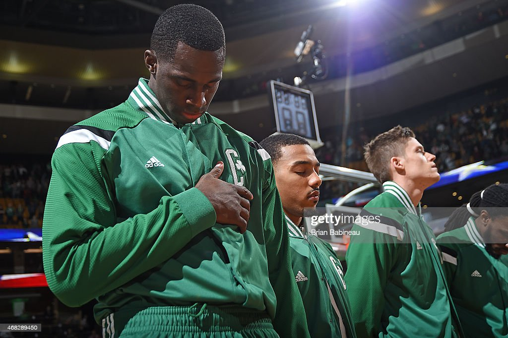 Brandon Bass #30 of the Boston Celtics before the game against the Indiana Pacers on April 1, 2015 at the TD Garden in Boston, Massachusetts.