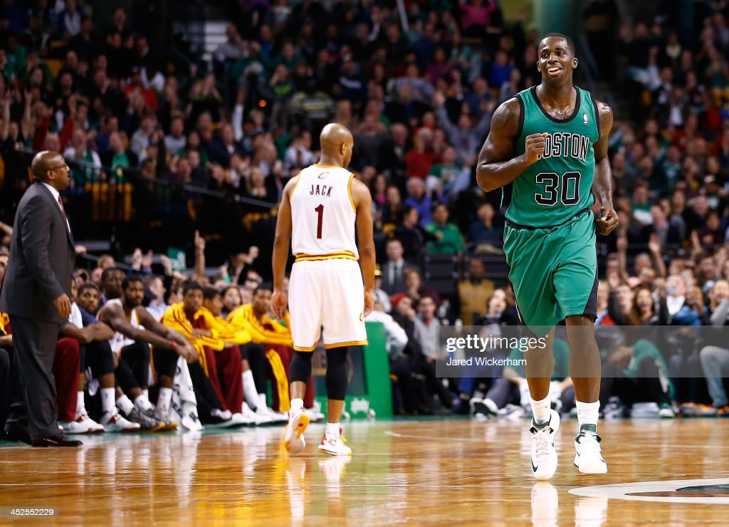 Brandon Bass #30 of the Boston Celtics celebrates after making a three-point shot in the fourth quarter against the Cleveland Cavaliers during the game at TD Garden on November 29, 2013 in Boston, Massachusetts.