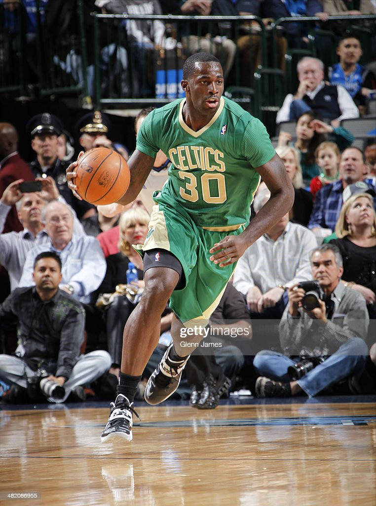 <a gi-track='captionPersonalityLinkClicked' href=/galleries/search?phrase=Brandon+Bass&family=editorial&specificpeople=233806 ng-click='$event.stopPropagation()'>Brandon Bass</a> #30 of the Boston Celtics dribbles the ball during the game against the Dallas Mavericks on March 17, 2014 at the American Airlines Center in Dallas, Texas.
