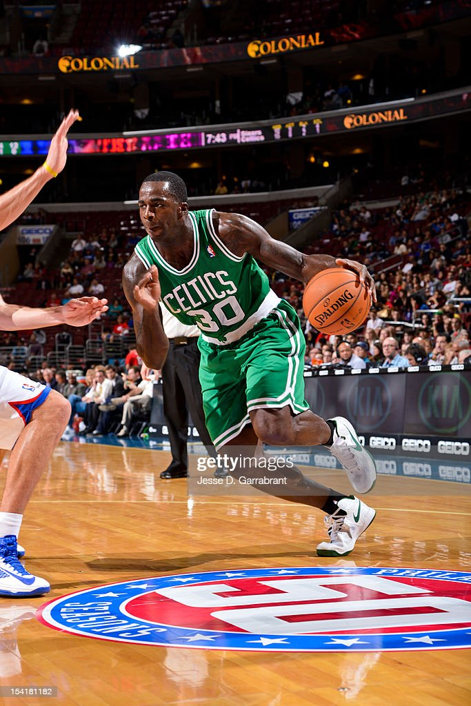 Brandon Bass #30 of the Boston Celtics drives against the Philadelphia 76ers during a pre-season game at the Wells Fargo Center on October 15, 2012 in Philadelphia, Pennsylvania.