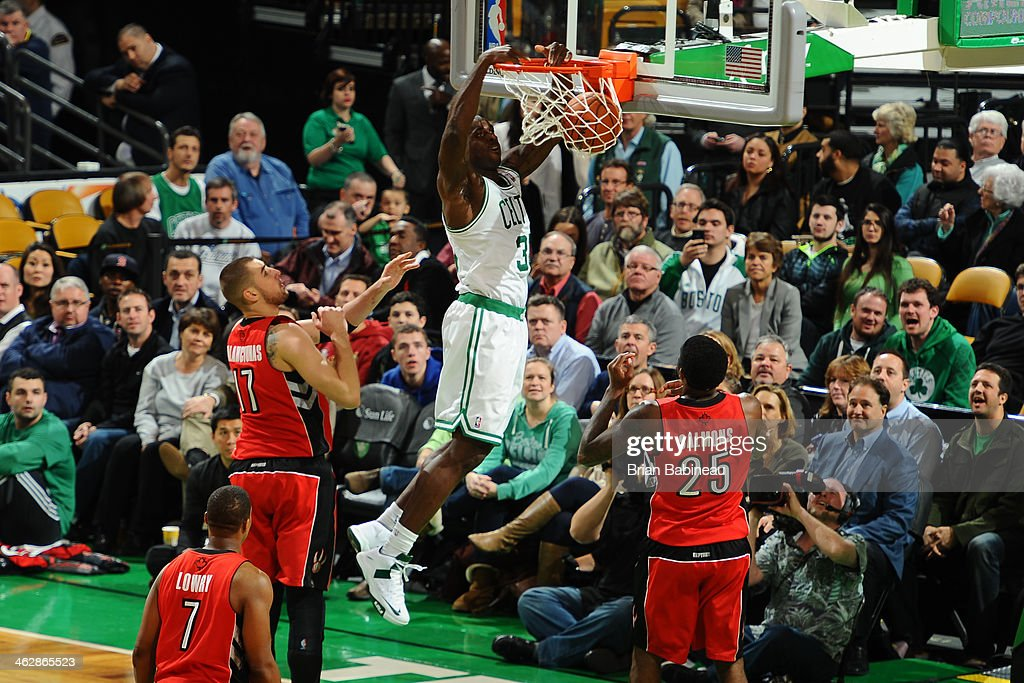<a gi-track='captionPersonalityLinkClicked' href=/galleries/search?phrase=Brandon+Bass&family=editorial&specificpeople=233806 ng-click='$event.stopPropagation()'>Brandon Bass</a> #30 of the Boston Celtics dunks against the Toronto Raptors on January 15, 2014 at the TD Garden in Boston, Massachusetts.