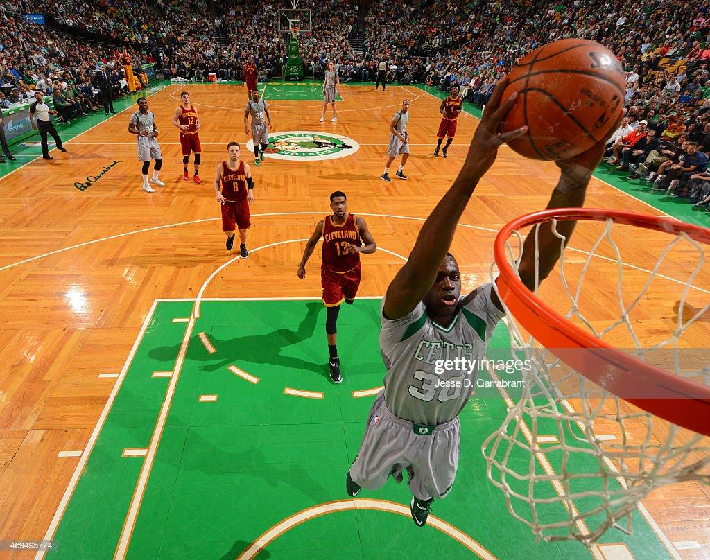 Brandon Bass #30 of the Boston Celtics dunks the ball against the Cleveland Cavilers at the TD Garden on April 12, 2015 in Boston, Massachusetts.NOTE