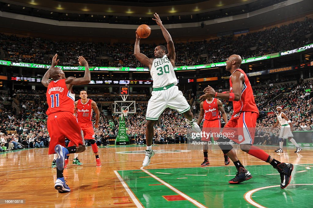 <a gi-track='captionPersonalityLinkClicked' href=/galleries/search?phrase=Brandon+Bass&family=editorial&specificpeople=233806 ng-click='$event.stopPropagation()'>Brandon Bass</a> #30 of the Boston Celtics goes for a jump shot during the game between the Boston Celtics and the Los Angeles Clippers on February 3, 2013 at the TD Garden in Boston, Massachusetts.