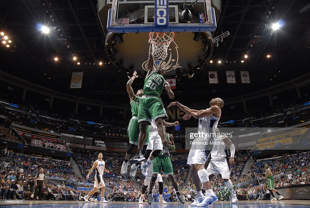Brandon Bass #30 of the Boston Celtics goes to the basket during the game between the Boston Celtics and the Orlando Magic on November 25, 2012 at Amway Center in Orlando, Florida.