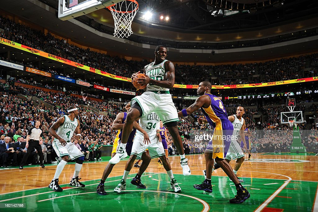 Brandon Bass #30 of the Boston Celtics grabs a rebound against the Los Angeles Lakers on February 7, 2013 at the TD Garden in Boston, Massachusetts.