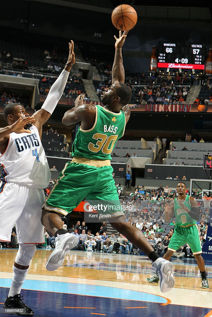 Brandon Bass #30 of the Boston Celtics puts up a shot against of the Charlotte Bobcats at the Time Warner Cable Arena on March 12, 2013 in Charlotte, North Carolina.