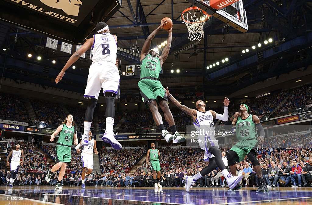 <a gi-track='captionPersonalityLinkClicked' href=/galleries/search?phrase=Brandon+Bass&family=editorial&specificpeople=233806 ng-click='$event.stopPropagation()'>Brandon Bass</a> #30 of the Boston Celtics rebounds against the Sacramento Kings on February 22, 2014 at Sleep Train Arena in Sacramento, California.