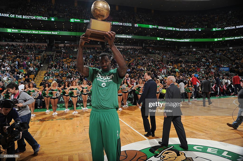 <a gi-track='captionPersonalityLinkClicked' href=/galleries/search?phrase=Brandon+Bass&family=editorial&specificpeople=233806 ng-click='$event.stopPropagation()'>Brandon Bass</a> #30 of the Boston Celtics receives the Red Auerbach award before the game against the Washington Wizards on April 16, 2014 at the TD Garden in Boston, Massachusetts.