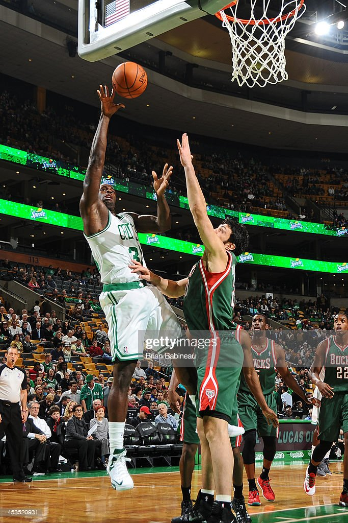 <a gi-track='captionPersonalityLinkClicked' href=/galleries/search?phrase=Brandon+Bass&family=editorial&specificpeople=233806 ng-click='$event.stopPropagation()'>Brandon Bass</a> #30 of the Boston Celtics shoots against the Milwaukee Bucks on December 3, 2013 at the TD Garden in Boston, Massachusetts.