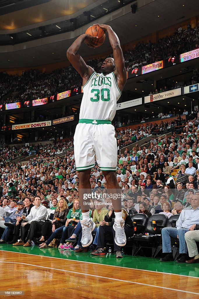 <a gi-track='captionPersonalityLinkClicked' href=/galleries/search?phrase=Brandon+Bass&family=editorial&specificpeople=233806 ng-click='$event.stopPropagation()'>Brandon Bass</a> #30 of the Boston Celtics shoots against the New York Knicks in Game Six of the Eastern Conference Quarterfinals during the NBA Playoffs on May 3, 2013 at the TD Garden in Boston, Massachusetts.