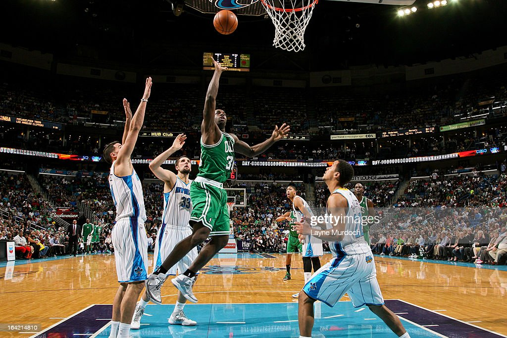 Brandon Bass #30 of the Boston Celtics shoots in the lane against the New Orleans Hornets on March 20, 2013 at the New Orleans Arena in New Orleans, Louisiana.