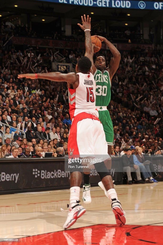 <a gi-track='captionPersonalityLinkClicked' href=/galleries/search?phrase=Brandon+Bass&family=editorial&specificpeople=233806 ng-click='$event.stopPropagation()'>Brandon Bass</a> #30 of the Boston Celtics shoots the ball against the Toronto Raptors during the game on October 23, 2013 at the Air Canada Centre in Toronto, Ontario, Canada.