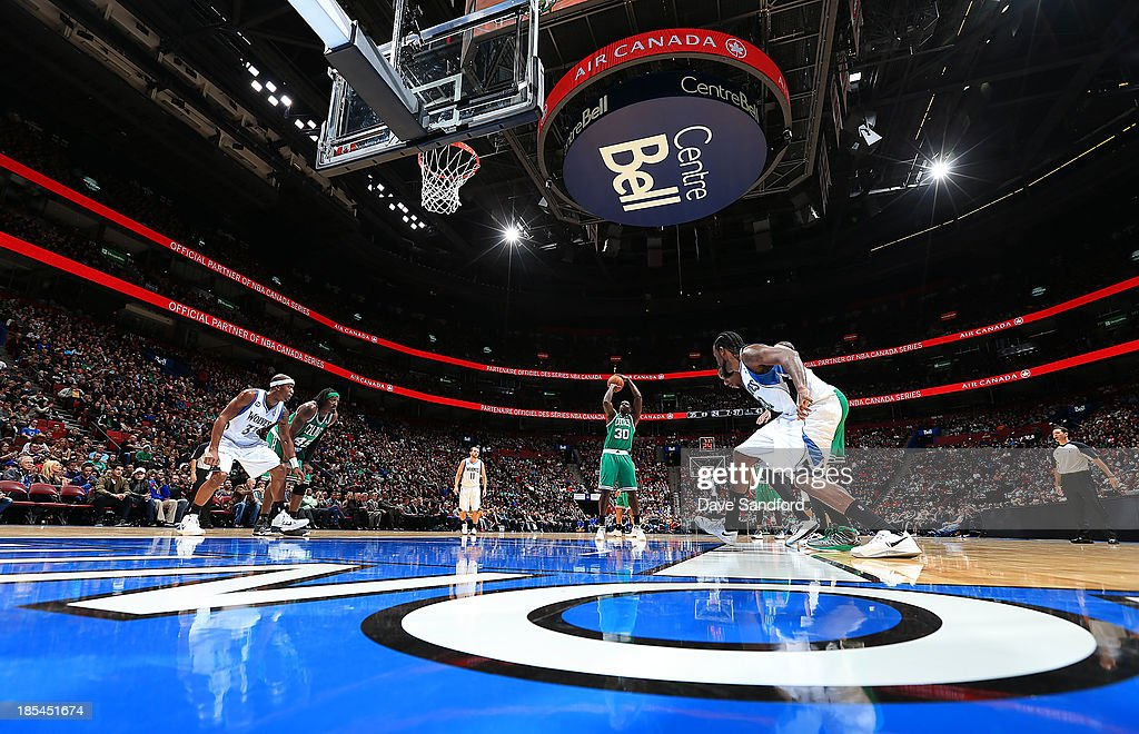 Brandon Bass #30 of the Boston Celtics takes a foul shot against the Minnesota Timberwolves during their NBA pre-season game at the Bell Centre on October 20, 2013 in Montreal, Quebec, Canada.