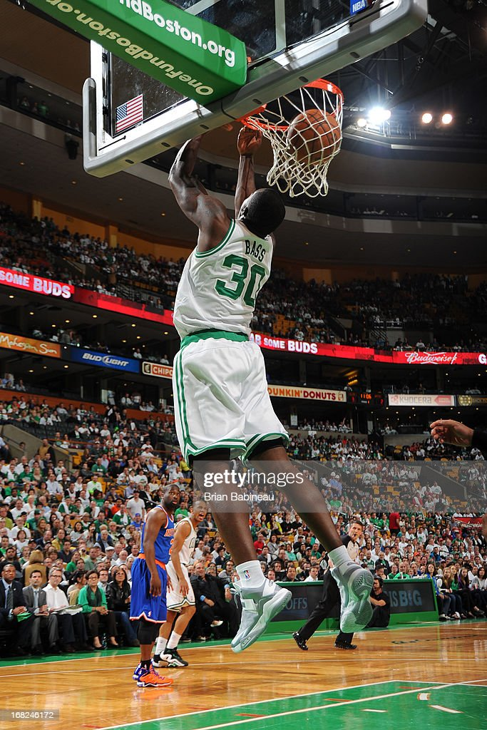 Brandon Bass #30 of the Boston Celtics takes a reverse dunk against the New York Knicks during Game Four of the Eastern Conference Quarterfinals on April 28, 2013 at the TD Garden in Boston, Massachusetts.