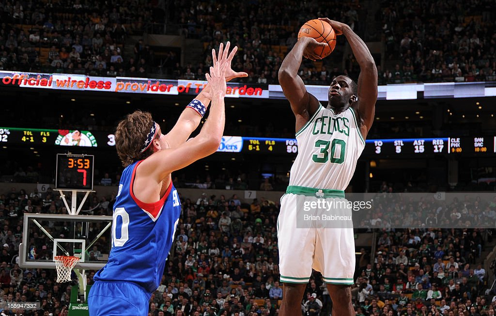 Brandon Bass #30 of the Boston Celtics takes a shot against the Philadelphia 76ers on November 9, 2012 at the TD Garden in Boston, Massachusetts.