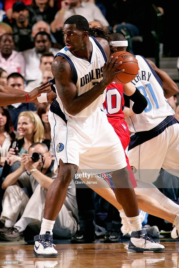 Brandon Bass #32 of the Dallas Mavericks handles the ball during the game against the Los Angeles Clippers on December 21, 2007 at American Airlines Center in Dallas, Texas. The Mavericks won 102-89.