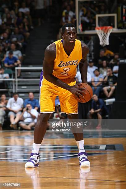 Brandon Bass of the Los Angeles Lakers handles the ball against the Utah Jazz during a preseason game on October 6 2015 at the Stan Sheriff Center in...