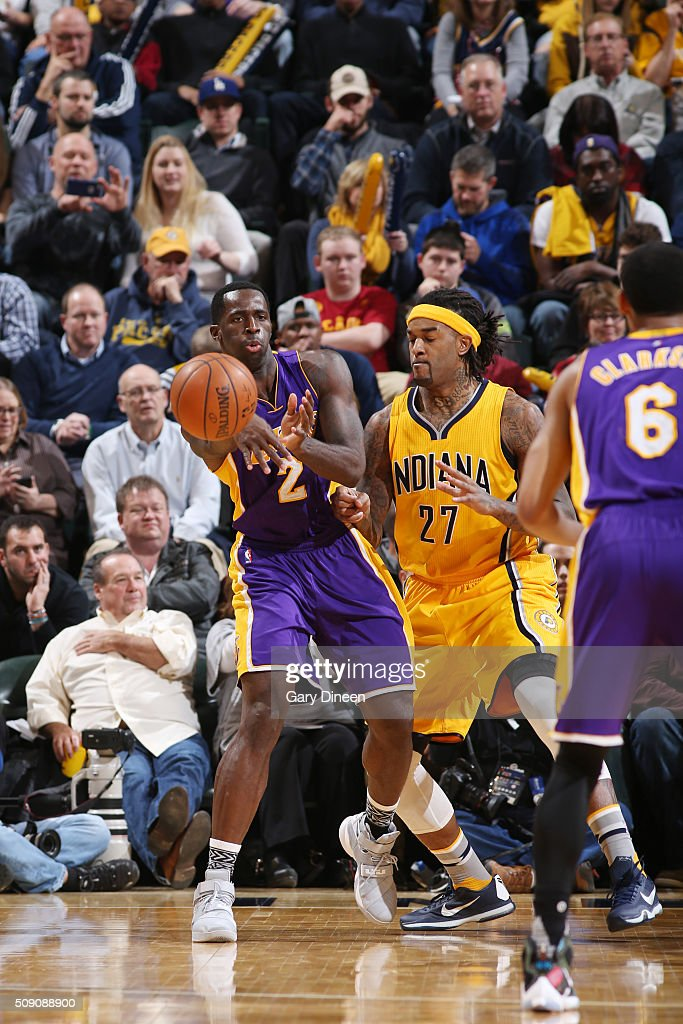 Brandon Bass #2 of the Los Angeles Lakers passes the ball against the Indiana Pacers on February 8, 2016 at Bankers Life Fieldhouse in Indianapolis, Indiana.