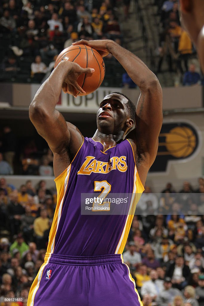 Brandon Bass #2 of the Los Angeles Lakers shoots a free throw against the Indiana Pacers on February 8, 2016 at Bankers Life Fieldhouse in Indianapolis, Indiana.