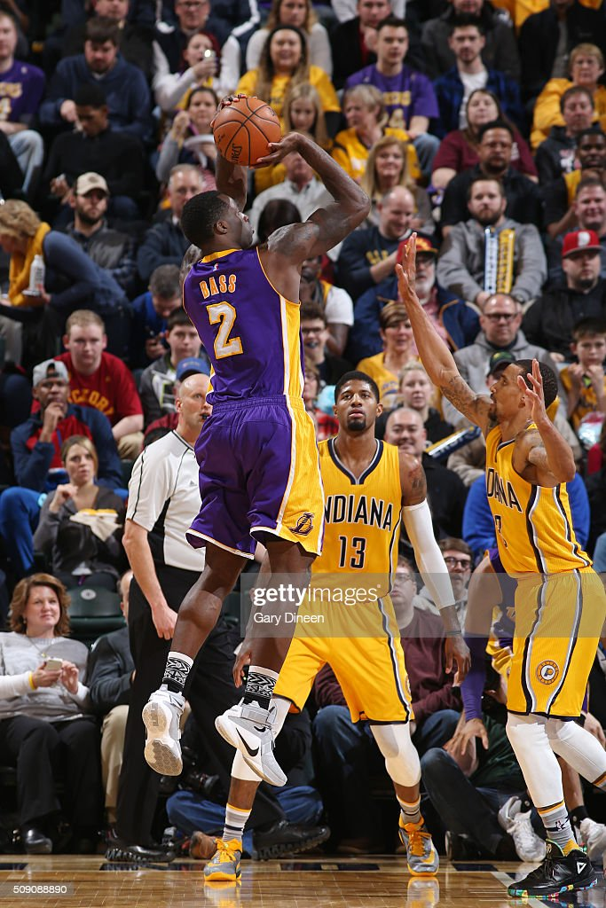 <a gi-track='captionPersonalityLinkClicked' href=/galleries/search?phrase=Brandon+Bass&family=editorial&specificpeople=233806 ng-click='$event.stopPropagation()'>Brandon Bass</a> #2 of the Los Angeles Lakers shoots the ball against the Indiana Pacers on February 8, 2016 at Bankers Life Fieldhouse in Indianapolis, Indiana.