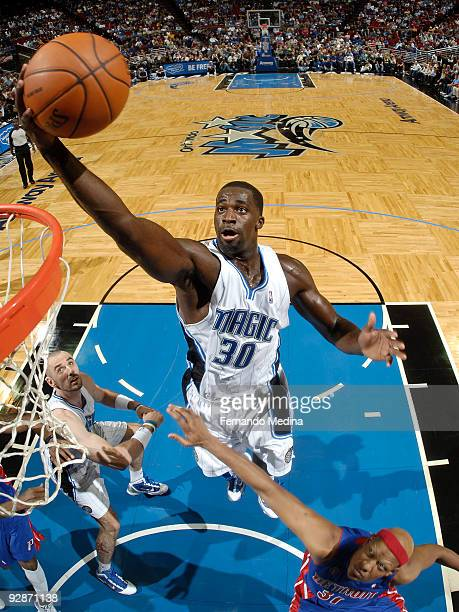 Brandon Bass of the Orlando Magic takes the ball to the basket against the Detroit Pistons on November 6 2009 at Amway Arena in Orlando Florida NOTE...