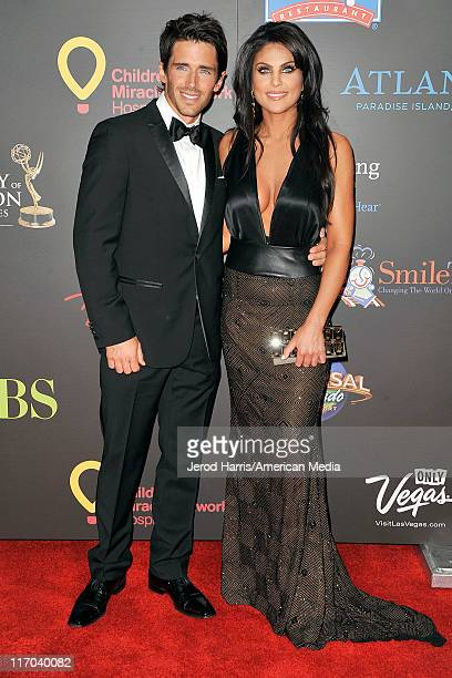 Brandon Beemer and Nadia Bjorlin arrive at the 38th Annual Daytime Entertainment Emmy Awards for Soap Opera Weekly Arrivals on June 19 2011 in Las...