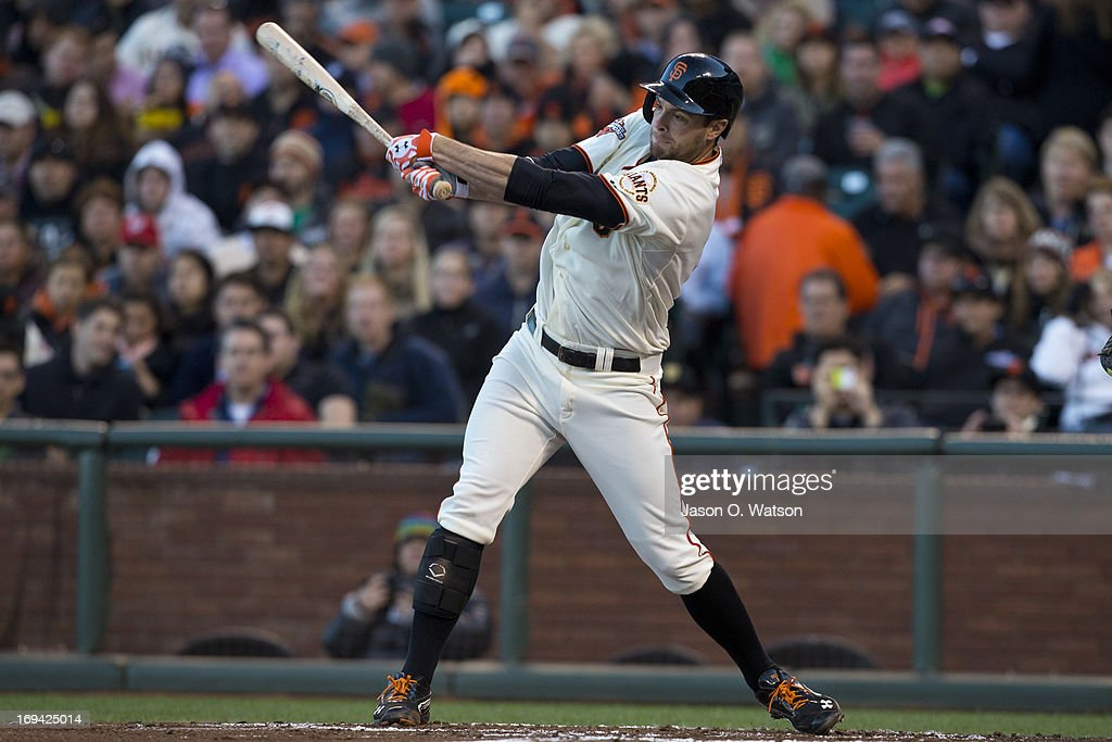 <a gi-track='captionPersonalityLinkClicked' href=/galleries/search?phrase=Brandon+Belt&family=editorial&specificpeople=7513394 ng-click='$event.stopPropagation()'>Brandon Belt</a> #9 of the San Francisco Giants at bat against the Washington Nationals during the first inning at AT&T Park on May 21, 2013 in San Francisco, California. The San Francisco Giants defeated the Washington Nationals 4-2 in 10 innings.