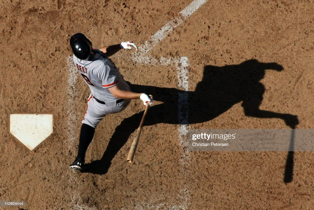 <a gi-track='captionPersonalityLinkClicked' href=/galleries/search?phrase=Brandon+Belt&family=editorial&specificpeople=7513394 ng-click='$event.stopPropagation()'>Brandon Belt</a> #9 of the San Francisco Giants bats against the Arizona Diamondbacks during the MLB game at Chase Field on April 7, 2012 in Phoenix, Arizona. The Diamondbacks defeated the Giants 5-4.